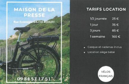 Maison de la Presse – Location vélo électrique